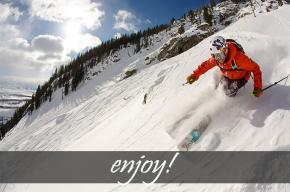 Image of skier with the text