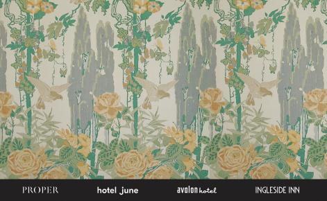 Gift card image with floral patterned background and the proper hotels logo board