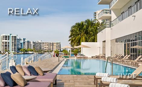 """eGift Card image of the pool area with the text """"Relax"""" and the Hyde Beach House logo"""
