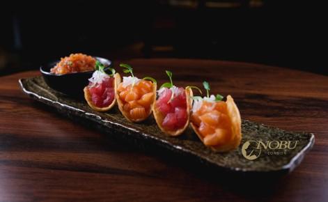 Gift Card image of a tray of Nobu Tacos with the Nobu London logo