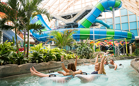 Image of people floating along the lazy river