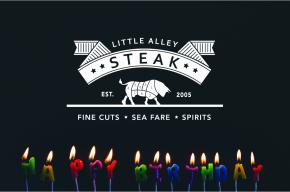 Little Alley Steak logo on black background with lit candles at the  bottom of the image