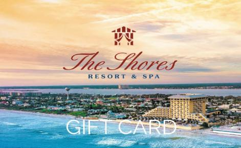 Gift card image of the Shores Resort by the ocean with Shores Resort logo and the text