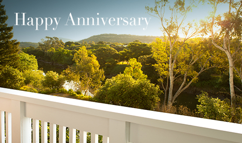"Gift card image of the view from a room balcony with the text ""Happy Anniversary"""