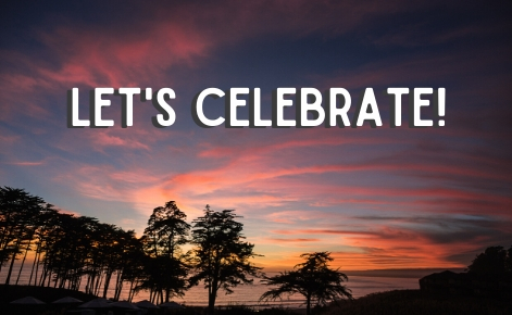 "Gift card image of the sunset with the text ""Let's Celebrate!"""