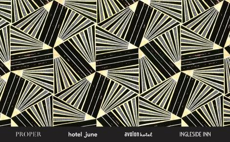 Gift card image with patterned background and the proper hotels logo board