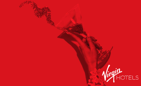 Gift card image of drink being thrown with the Virgin Hotel Dallas logo