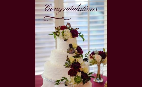 Image of wedding cake with the text