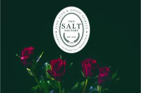 Image of roses and the Salt Factory Pub logo