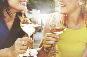 Image of two ladies drinking wine