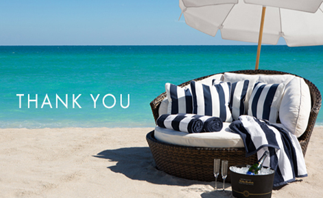 "Gift card image of sun lounger and Champaign with the text ""Thank You"""