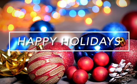 Gift card image of holiday lights and tree ornaments with the text