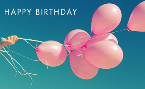 "Gift card image of pink balloons with the text ""Happy Birthday"""