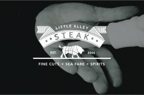 Little Alley Steak logo on black background with father and sons hands