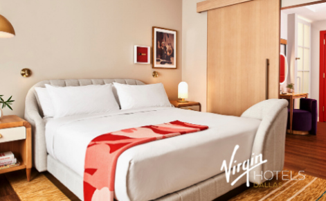 Gift card image of hotel room with the Virgin Hotel Dallas logo