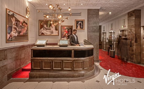 Gift card image of lobby with the Virgin Hotel Chicago logo