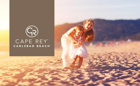 Gift Card image with wife and children on the beach with the Cape Rey Carlsbad logo