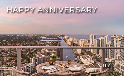 """eGift Card image of the view from the penthouse balcony with the text """"Happy Anniversary"""" and the Hyde Beach House Logo"""