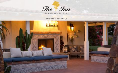 External shot of The Inn at Rancho Santa Fe with logo overlaid at the top