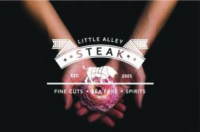 Little Alley Steak logo on black background with hands cusping a rose
