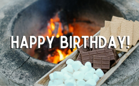 "Gift card image of fire pit and S'mores with the text ""Happy  Birthday!"""