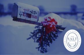 Winter image with Salt Factory Pub logo