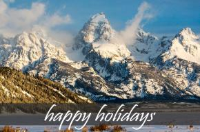 Image snowy mountains with the text