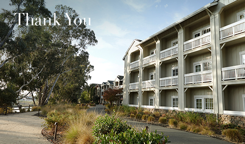 "Gift card image of the exterior for the hotel with the text ""Thank You"""