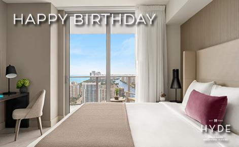 """eGift Card image of hotel room with the text """"Happy Birthday"""" and the Hyde Beach House logo"""