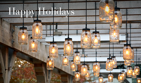 "Gift card image of ceiling lights with the text ""Happy Holidays"""
