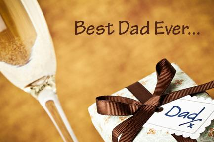 Image of a gift for dad and champagne glass with the text