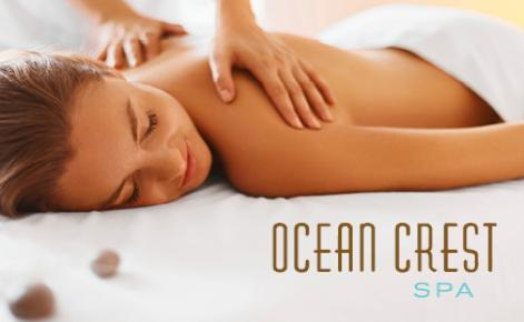 Gift Card image with the Ocean Crest logo and a lady receiving a back massage