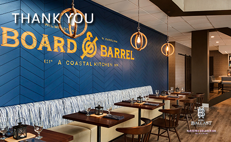 "eGift Card image of the interior of Board & Barrel restaurant with the text ""Thank You"" and the Hotel Ballast logo"