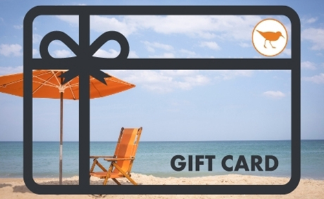 Gift card image of a deckchair and parasol on the beach