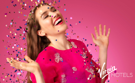 Gift card image of lady and throwing confetti with the Virgin Hotel Dallas logo