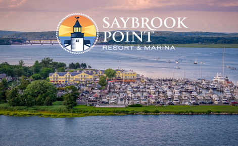 Gift card image of Saybrook Point and Marina at sunset with logo