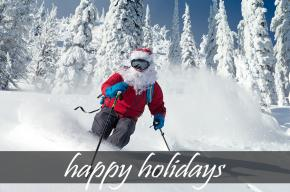Image of skiing Santa Clause with the text