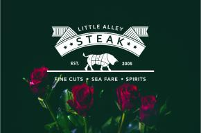 Little Alley Steak logo on dark green background with roses at the  bottom of the image