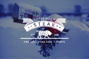 Little Alley Steak logo on snow scene background