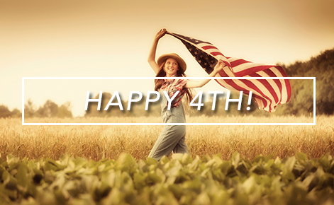 Gift card image of gift in field holding up the American flag with the text