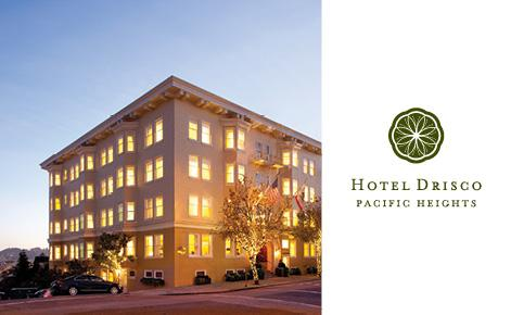 Hotel Drisco gift card with logo and image of front of property