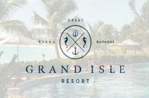 Grande Isle Resort logo with the swimming pool at day set as the background