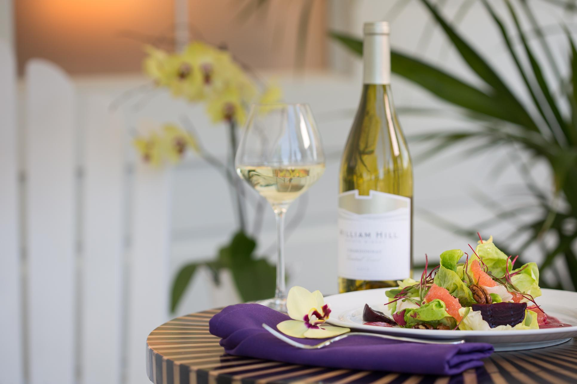 Image of wine and food
