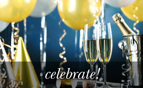Image of champagne glasses, balloons and streams with the text