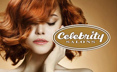 Head shot of model with short red hair and the Celebrity Salons logo