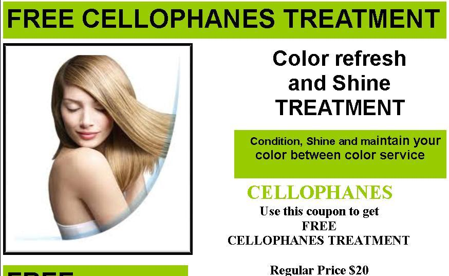 Free Cellophanes Treatment Promo flyer image with detail