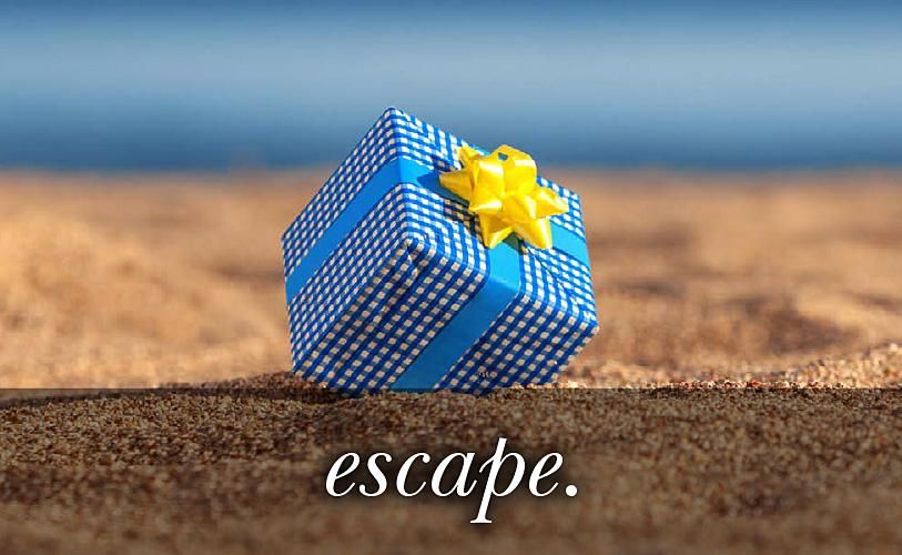 Image of a blue gift with yellow ribbon with the text