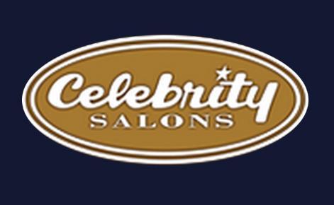 Celebrity Salons logo on black background