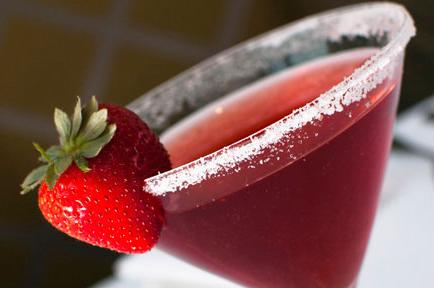Image of red cocktail with strawberry