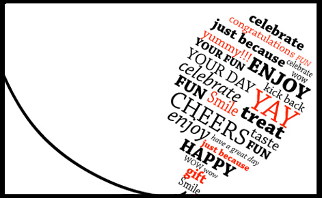 Ballon image with various celebratory words such as